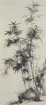 bamboo and rock by yamamoto baiitsu