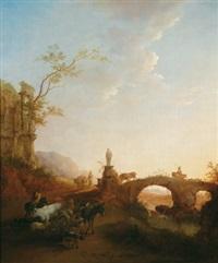 flusslandschaft mit steinerner bogenbrücke, antiken ruinen und einem hirten mit herde by vinzenz fischer