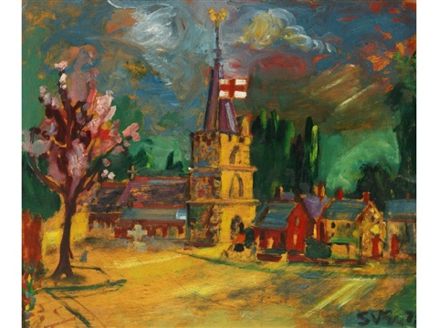 a village church in a landscape by sven berlin