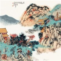 寒山萧寺图 (landscape) by jiang hong