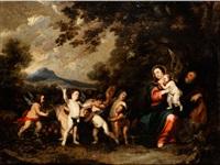 die ruhe auf der flucht nach ägypten mit einem engelsreigen by anonymous-flemish (17)