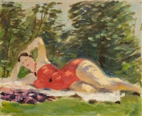 reclining woman by alexandr nikolaevich samokhvalov