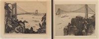 view of the george washington bridge, new york (+ another, similar ;pair) by otto wackernagel