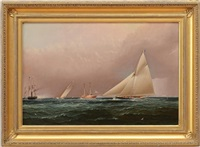new york yacht club race off sandy hook by james edward buttersworth
