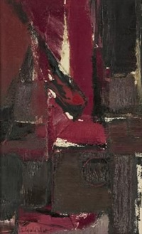 composition in red by sidney goldblatt