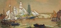 dockside nautical scene by william james aylward
