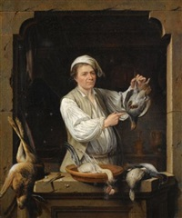 a man at a window selling game (+ an old woman at a window selling fish; pair) by gerrit zegelaar