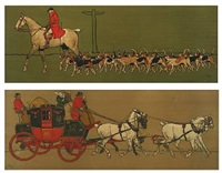 mail coach and hunter with dogs by cecil charles windsor aldin