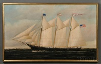 portrait of the three-masted schooner sacheus sherman in coastal waters by william pierce stubbs