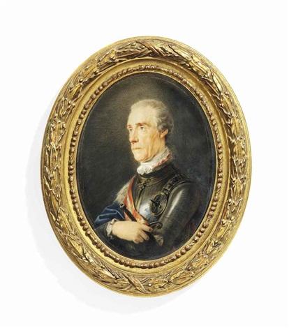 baron ernst gideon von laudon 1717 1790 when field marshal in gilt bordered silver armour white cravat blue cloak draped over his right shoulder by friedrich heinrich füger