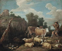 a drover with his cattle and sheep, playing a flute in a wooded landscape by a stream, a temple on the hill beyond by david teniers the younger