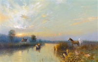 broads scene at sunset with horses on riverbank, figures in rowing boat by peter metcalf