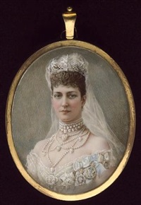queen alexandra (1844-1925), wearing white dress, extensive pearl choker and necklace, crown and veil in her hair, breast star of the order of the garter and other badges on her dress by edith maas