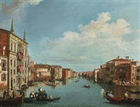venice, a view of the grand canal with a regatta, looking north-east from palazzo balbi to the rialto bridge; venice, a view of the molo with the bucintoro on ascension day (pair) by canaletto