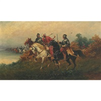 arabs on horseback (+ taking a prisoner; pair) by eugene louis corneau