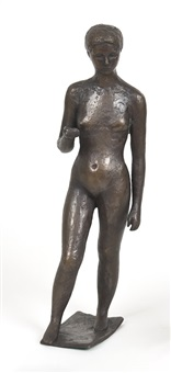 jeune femme nue au bras levé by charles leplae
