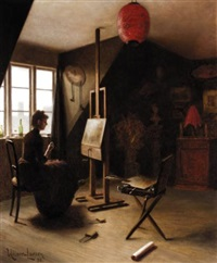 artist in her studio by arsen