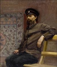 virkapukuisen miehen muotokuva by yuri il'ich repin