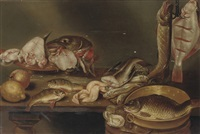 a lemon, a peach, fish heads on a plate, a pike and a flatfish on a hook and eels, all on a wooden table by alexander adriaenssen