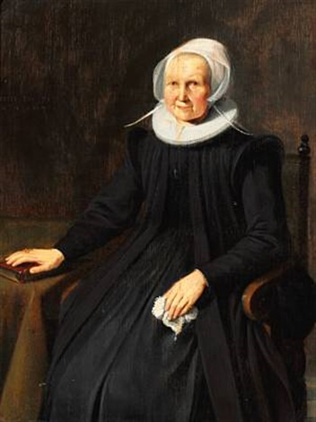an old dignified woman in a black dress with white collar and bonnet by gerrit dou