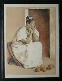 mujer de yucatan con naranjas by francisco zúñiga