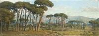 paysage de pinède au pied d'une chaîne de montagnes by felix-hippolyte lanoue