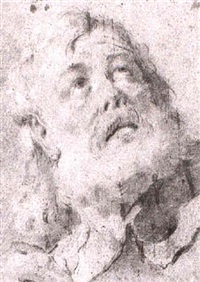 study of the head of a bearded man looking up to the left by giuseppe angeli