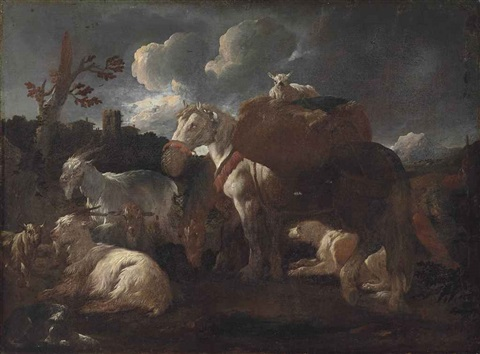 a goatherd with his flock and horse in a landscape by philipp peter roos