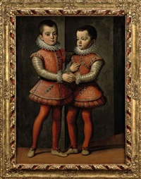 portrait of vittorio amedeo and emanuele filiberto, dukes of savoy, in red and silver costumes with red hoses, lace collars and cuffs by jan kraek