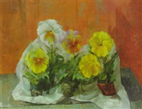 potted pansies by leonard appelbee