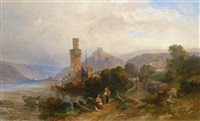figures near a town on the rhine by francois antoine leon fleury