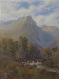 mountainous river landscape in north wales (+ another; pair) by alice mary burton