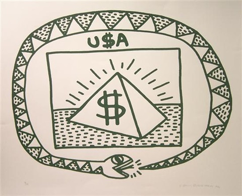 untitled snake and pyramid by keith haring