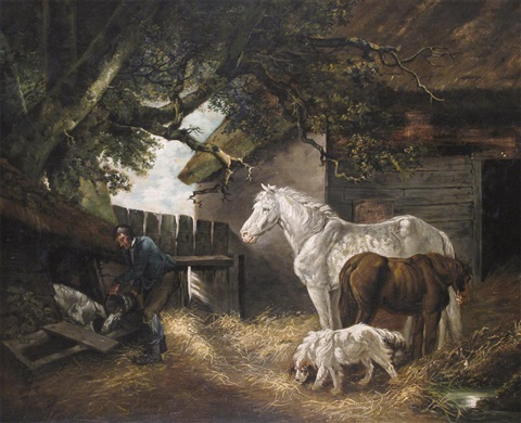 a farmer feeding his pig by a stable with horses and a dog by george morland