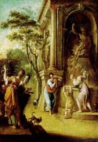 vier frauen und ein kind an einem monumentalen antiken brunnen in einem schloßpark by johann spillenberger