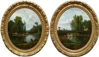 sans titre (un couple d'amoureux au bord d'une rivière)(+ untitled, une scène campagnarde; pair) by perret st. meuris