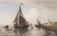 unloading the catch, katwijk aan zee by julius huth