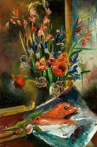 stilleben mit frühlingsblumen und fischen by annot (anna ottonie) jacobi