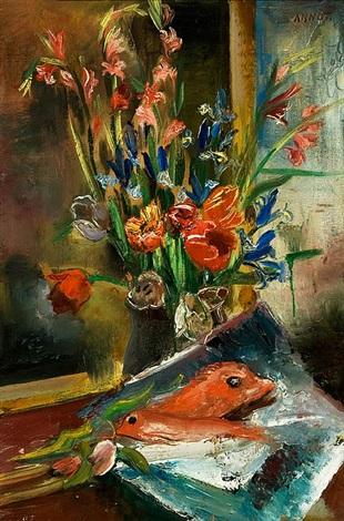 stilleben mit frühlingsblumen und fischen by annot anna ottonie jacobi