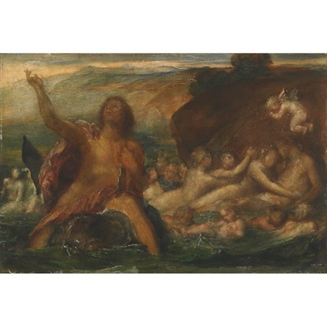 neptune riding a dolphin with nereids tritons and cherubs riding the swell by arnold böcklin the elder