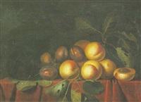 nature morte aux abricot et quetsches sur un entablement by paul liegeois