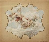 allegorie: flora und vier schwebende genien mit putti by j. karl peyfuss
