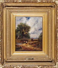 figures and animals by a stream below a pool (perhaps at dedham) by john constable