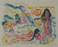 badende am strand by ivo hauptmann