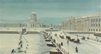 view of st. petersburg's senate square with st. isaac's cathedral and the bronze horseman by anonymous-russian