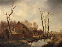 a winter landscape with swans and ducks in a ditch by a farm by louis pierre verwee