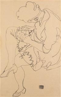sitzende frau (seated woman) by egon schiele