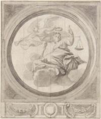 allégorie de la justice couronnée par la victoire by claude audran the younger