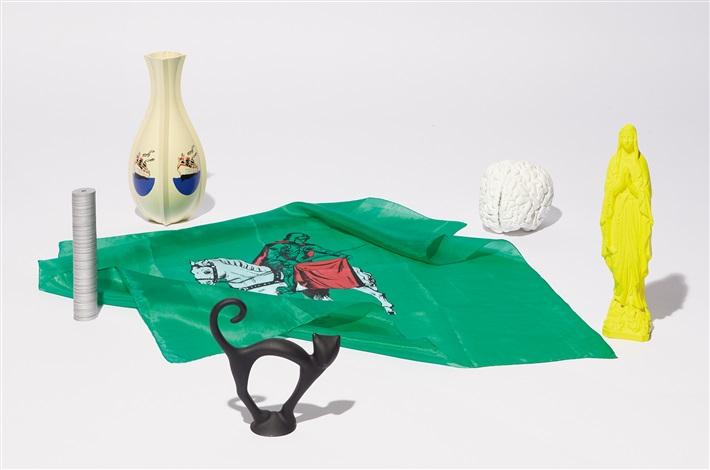 madonna; brain; vase; scarf; black cat; and money (set of 6 works) by katharina fritsch