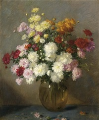 a flower still life with chrysanthemum in a glass bowl by solomon garf
